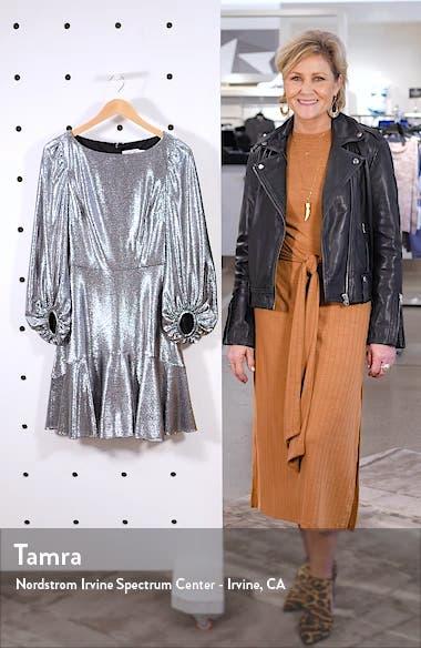 Long Sleeve Metallic Jersey Cocktail Dress, sales video thumbnail