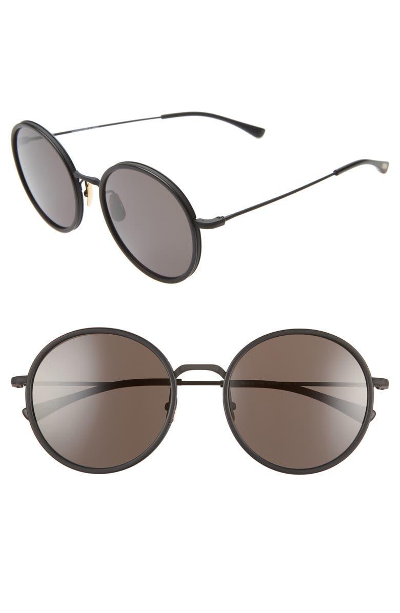 SALT. Audrey 56mm Polarized Round Sunglasses, Main, color, BLACK/ BLACK