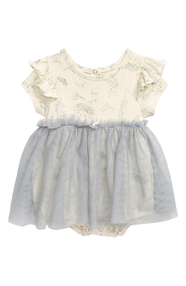 PIPPA & JULIE Skirted Organic Cotton Bodysuit, Main, color, PINK/ GREY