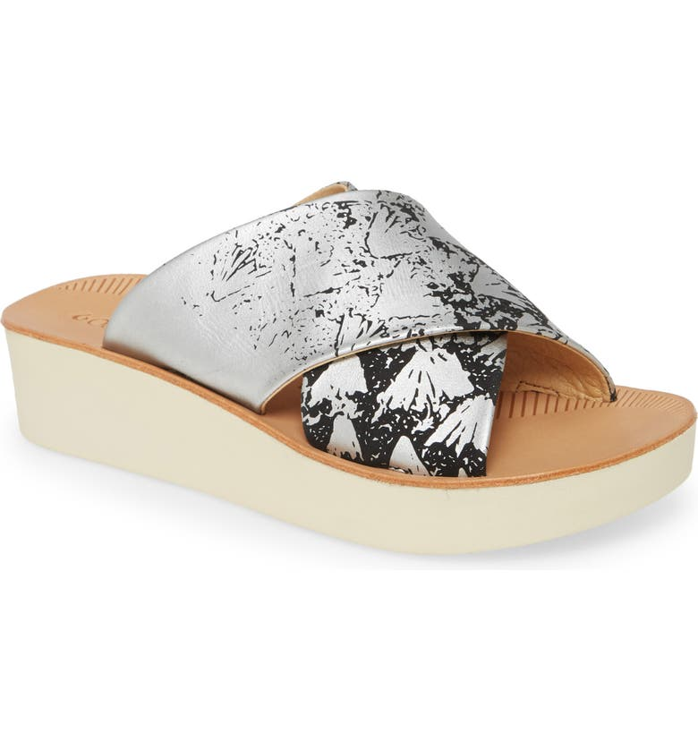OLUKAI 'Onohi Platform Slide Sandal, Main, color, BLACK/ SILVER LEATHER