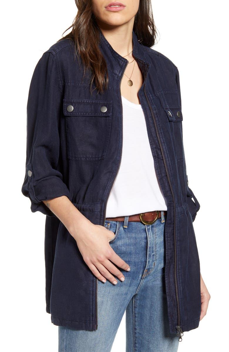 TREASURE & BOND Linen Blend Field Jacket, Main, color, NAVY NIGHT