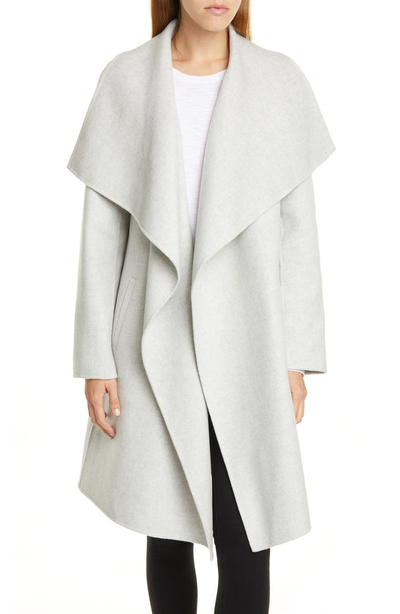 NORDSTROM SIGNATURE Cascade Collar Double Face Wool & Cashmere Coat, Main, color, GREY CLAY HEATHER