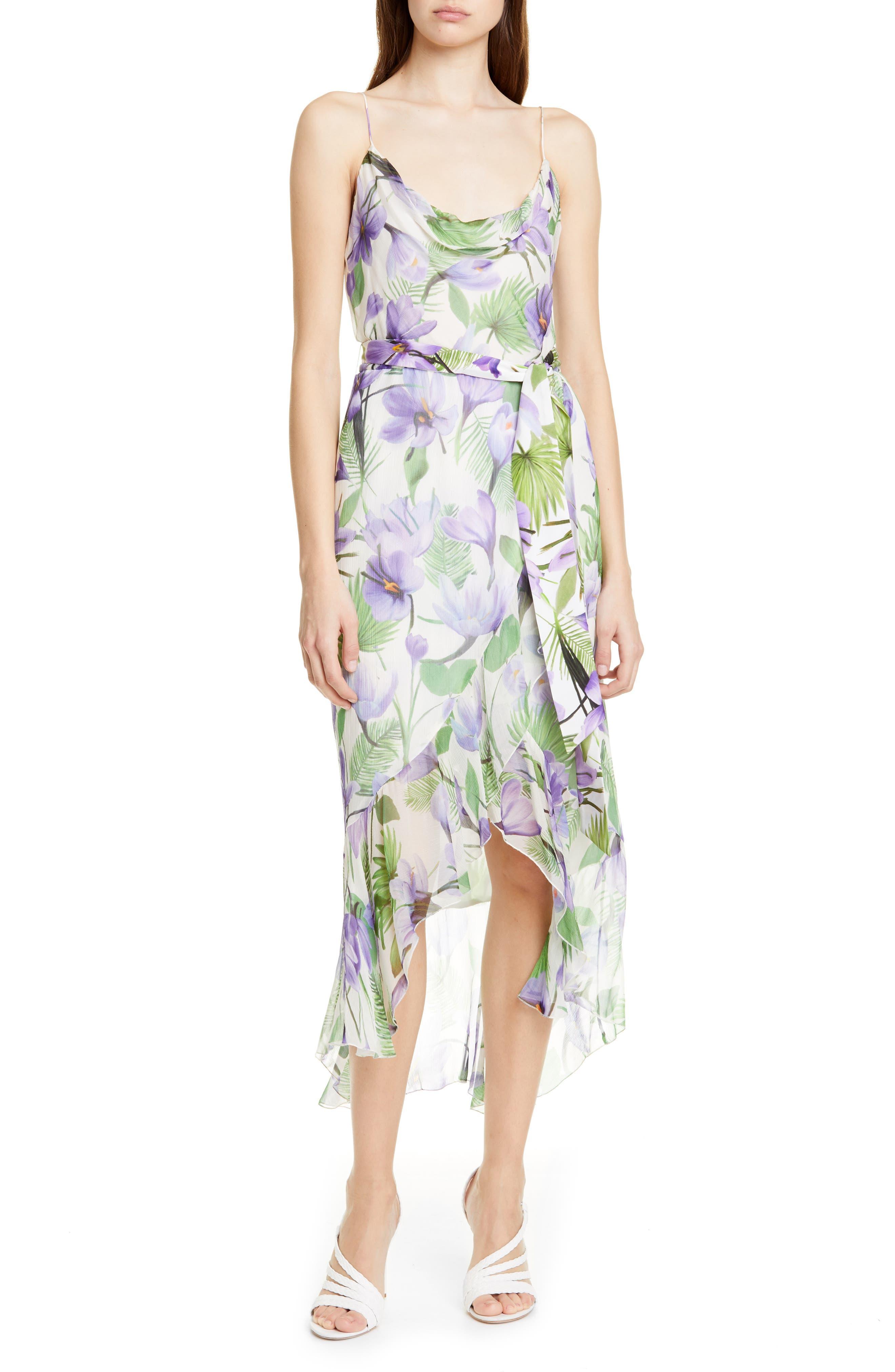 Alice + Olivia Tevi Floral Cowl Neck High/low Dress, Purple