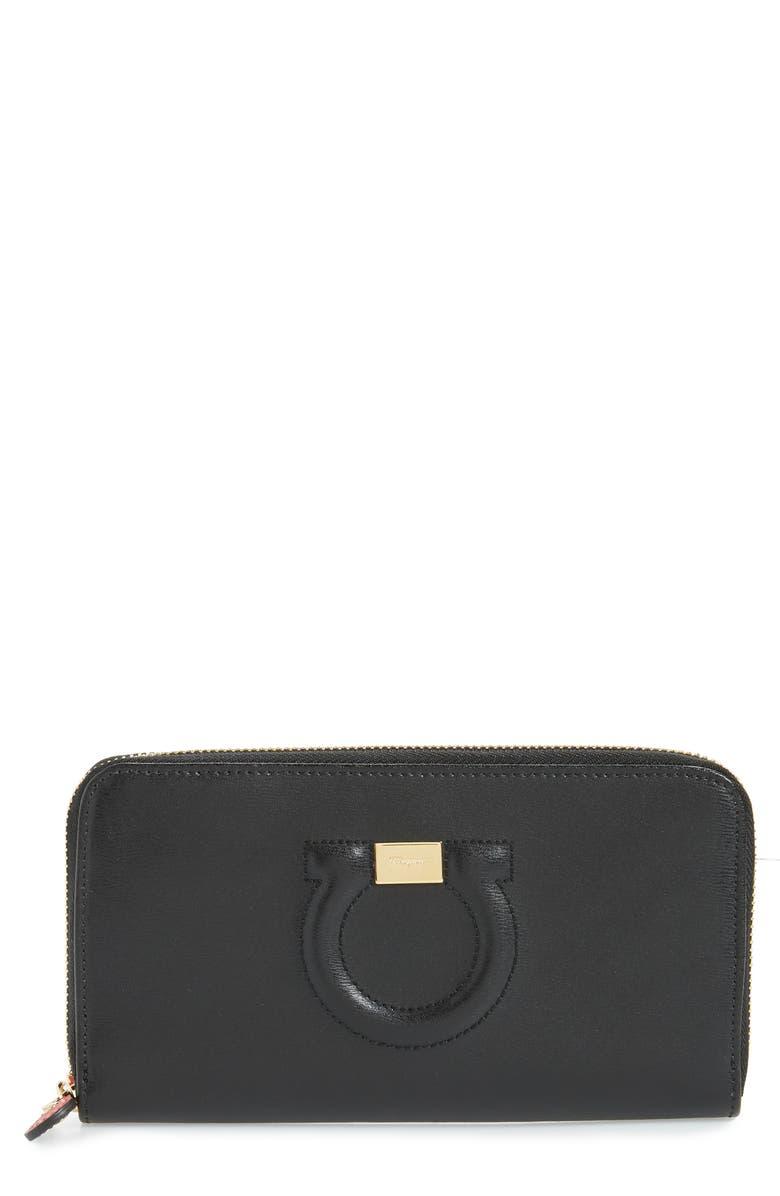 SALVATORE FERRAGAMO Quilted Gancio Leather Zip Around Wallet, Main, color, BLACK