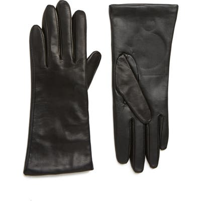 Nordstrom Cashmere Lined Leather Touchscreen Gloves - Black