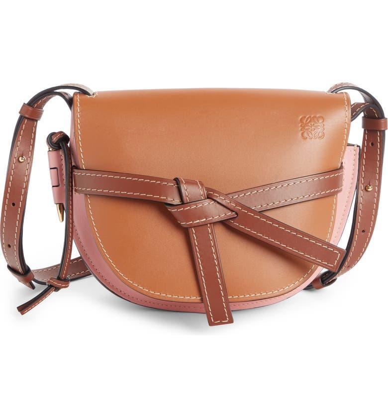 LOEWE Gate Small Leather Crossbody Bag, Main, color, TAN/ MEDIUM PINK