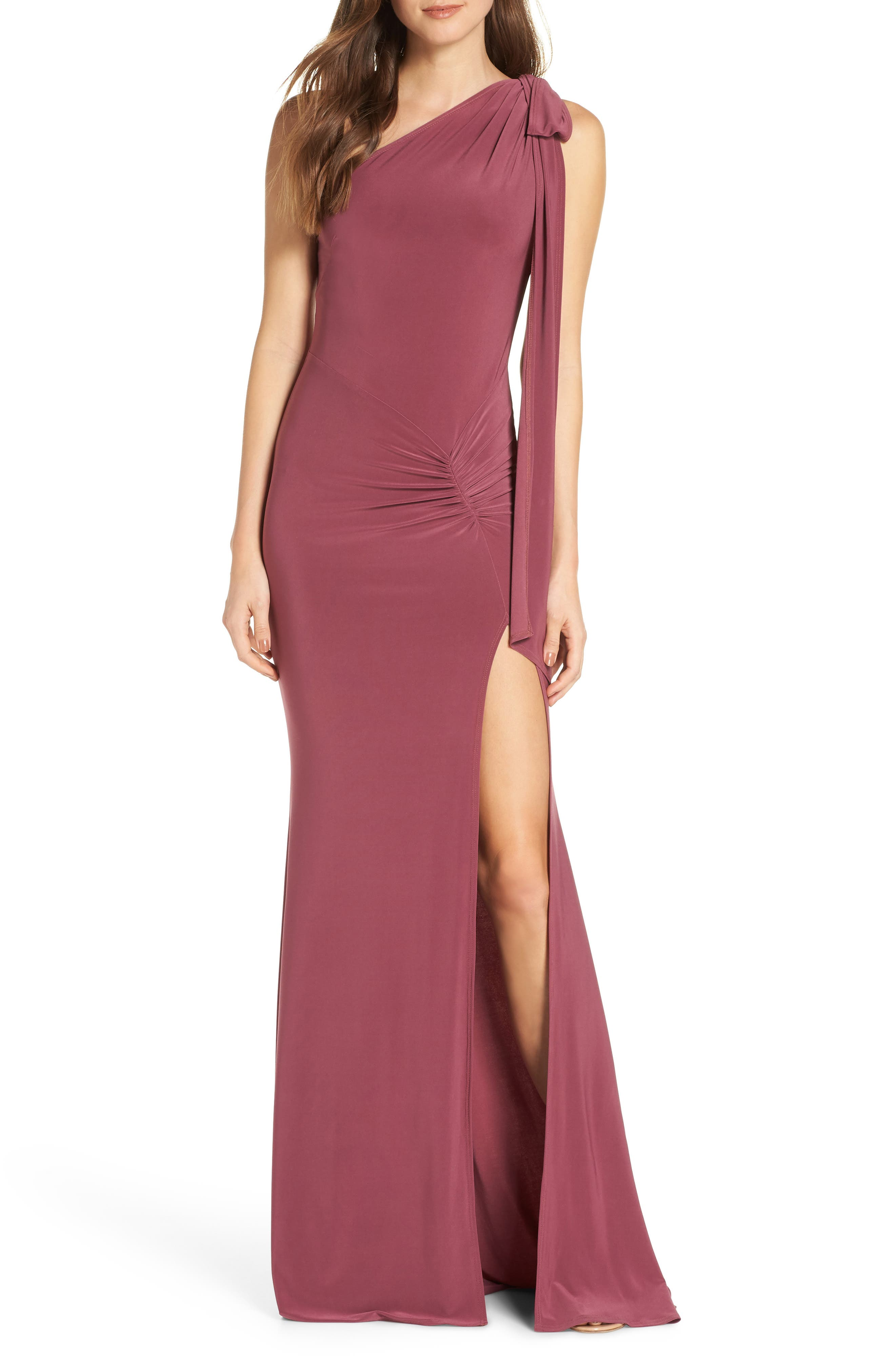 Katie May One-Shoulder Gown, Red