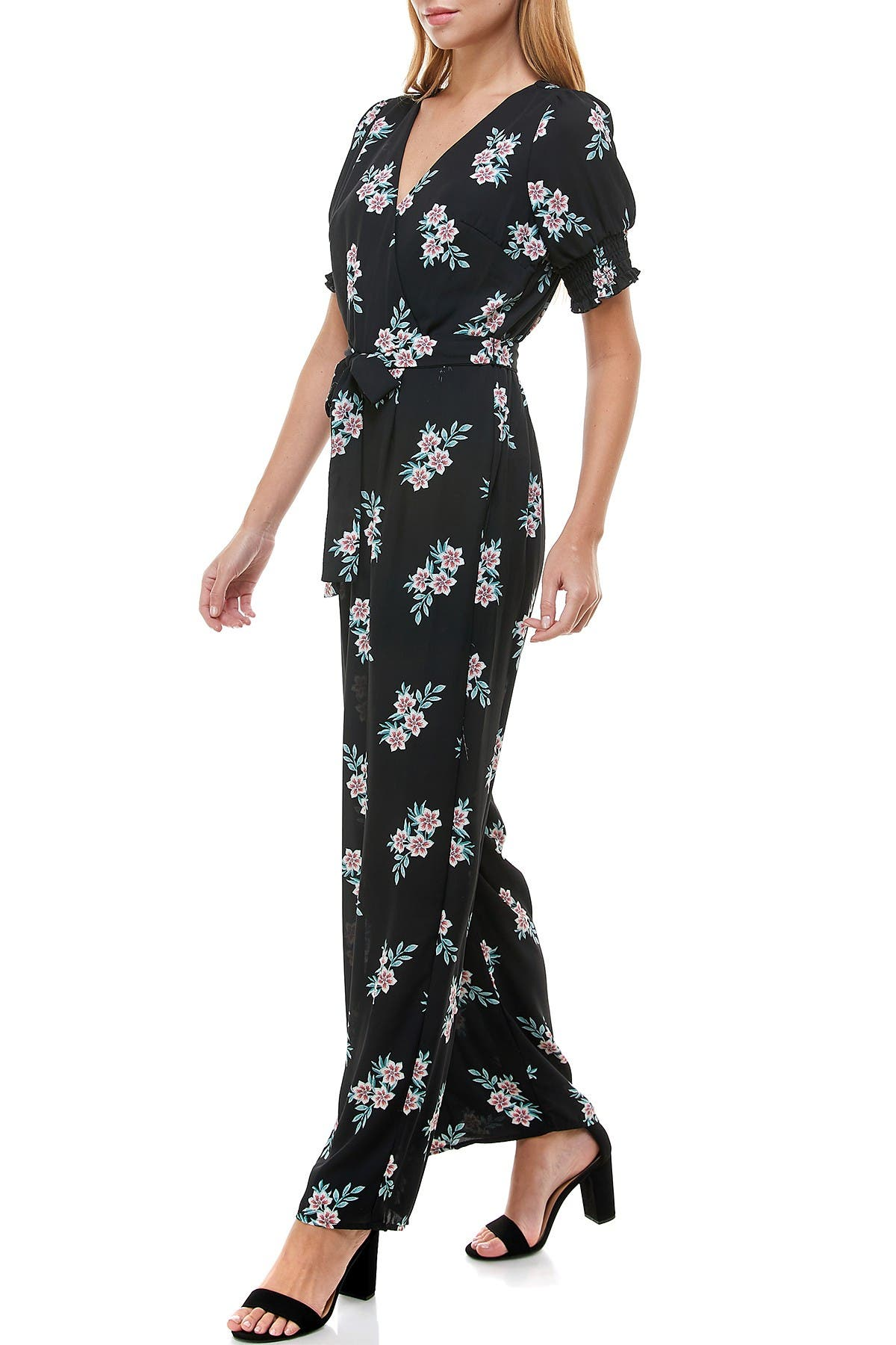 Image of ROW A Floral Smocked Sleeve Jumpsuit