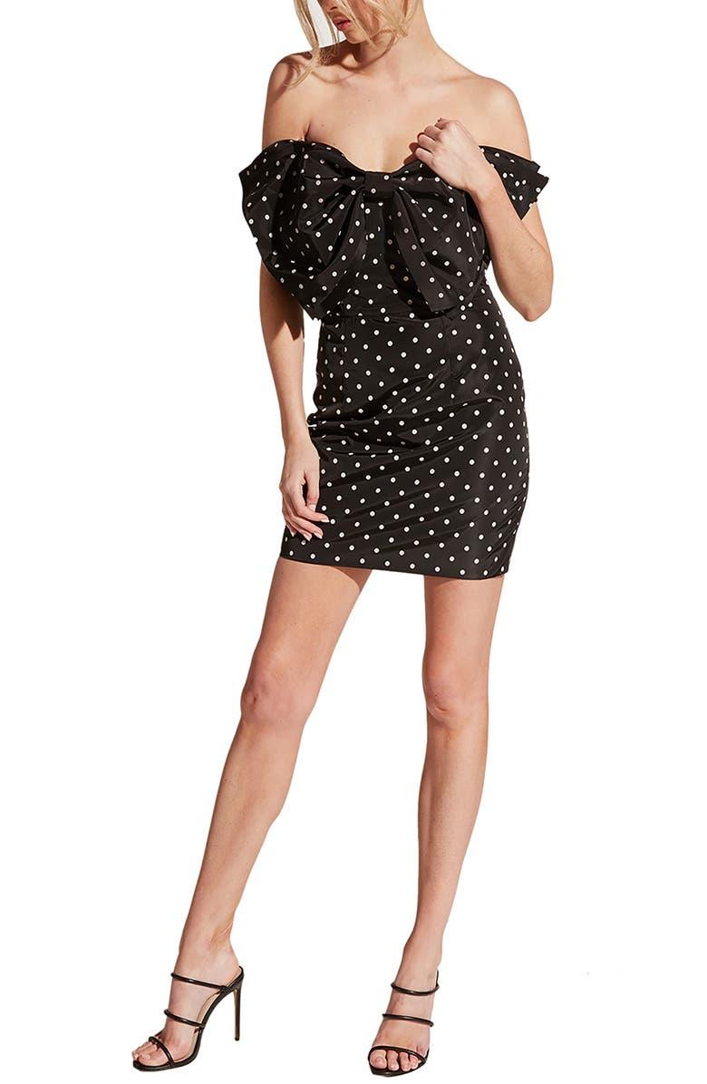 BARDOT Polka Dot Bow Front Off the Shoulder Minidress, Main, color, POLKA DOT