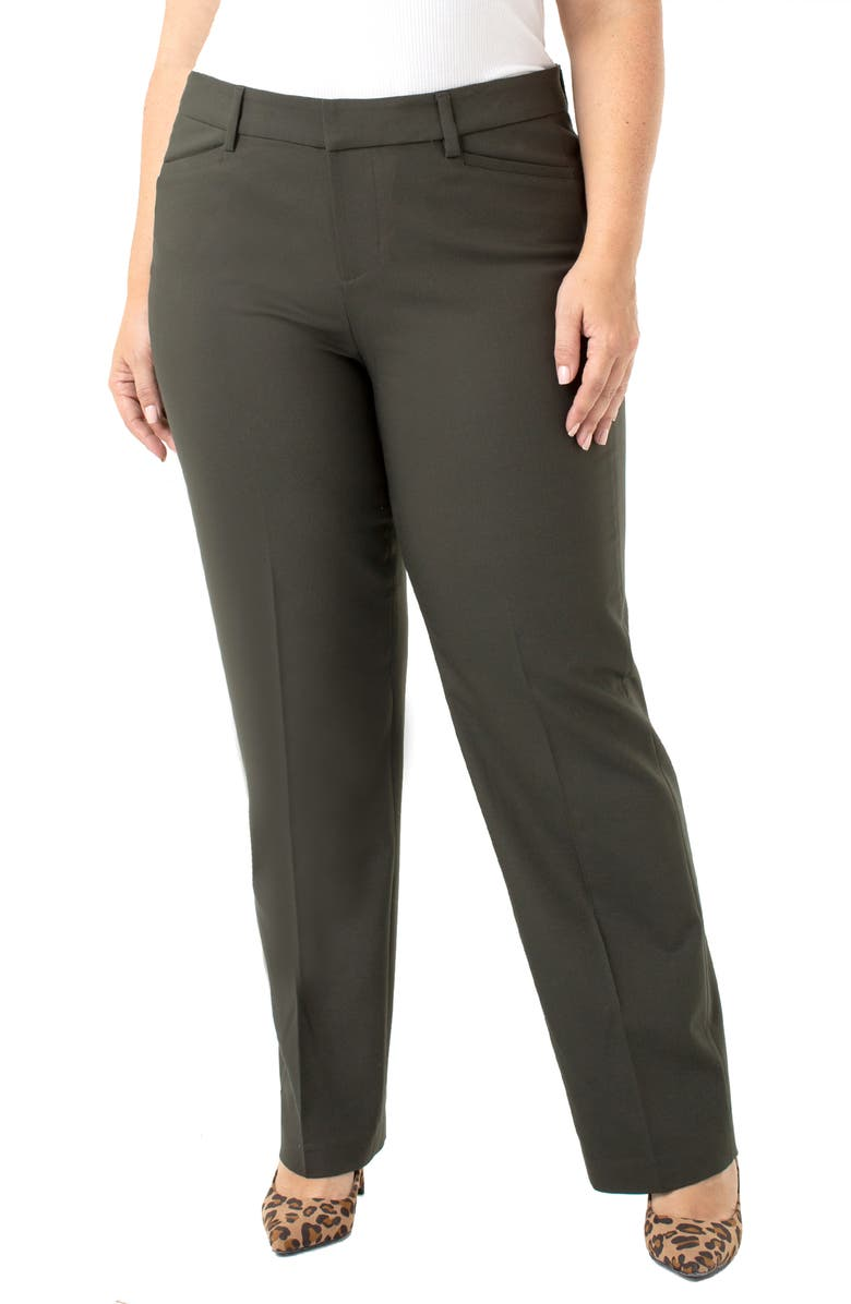 LIVERPOOL Bootcut Trousers, Main, color, PEAT GREEN