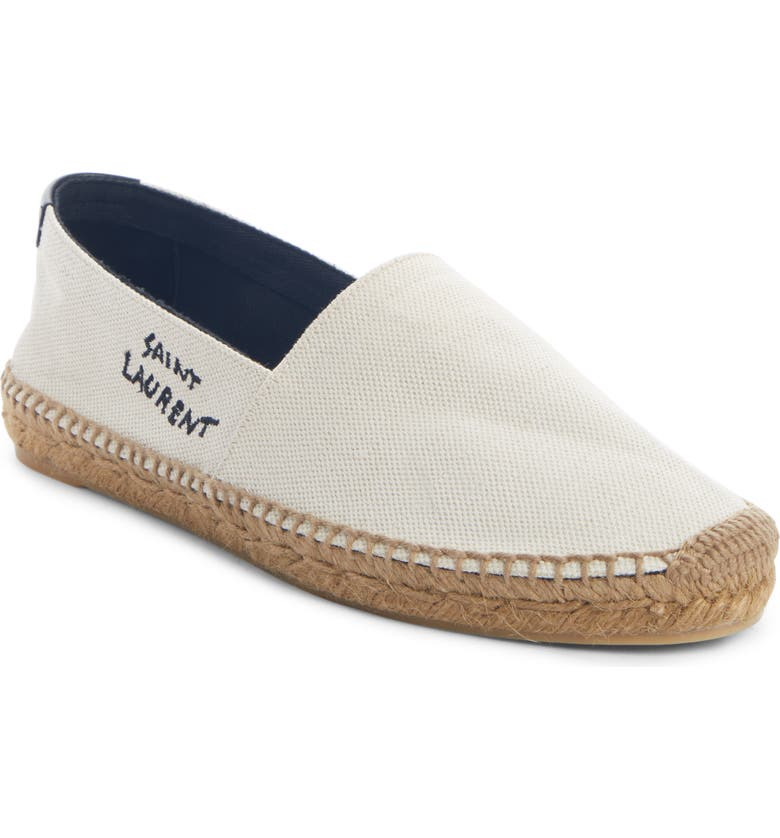SAINT LAURENT Monogramme Logo Espadrille, Main, color, WHITE