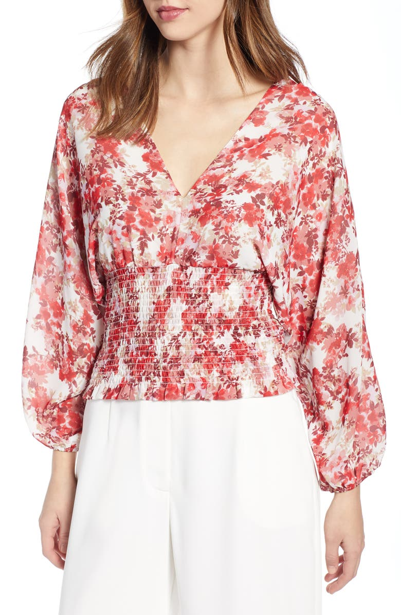 WAYF Floral Print Smocked Waist Top, Main, color, PINK BLOSSOM