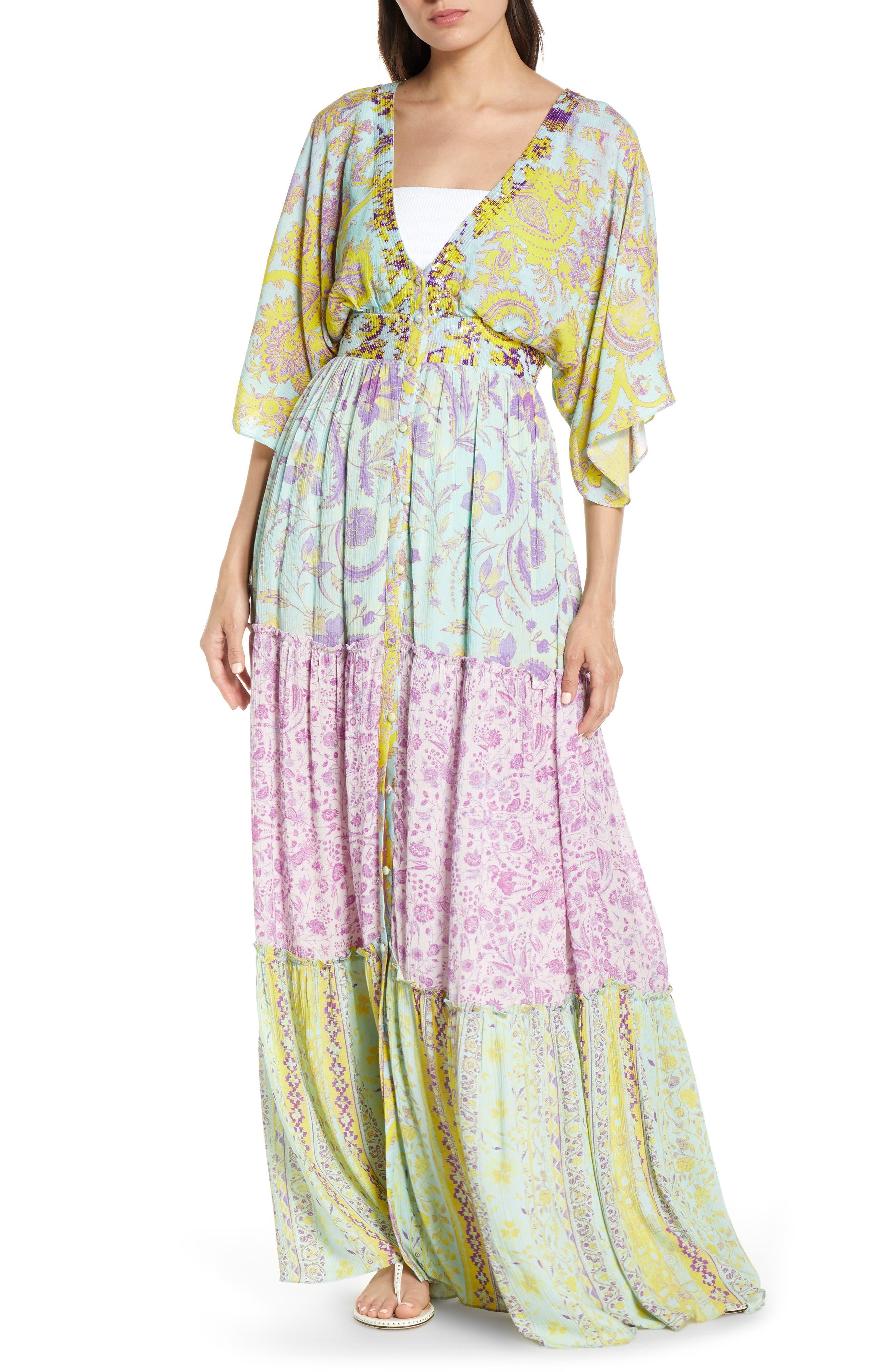 Hemant & Nandita Print Cover-Up Maxi Dress, Blue