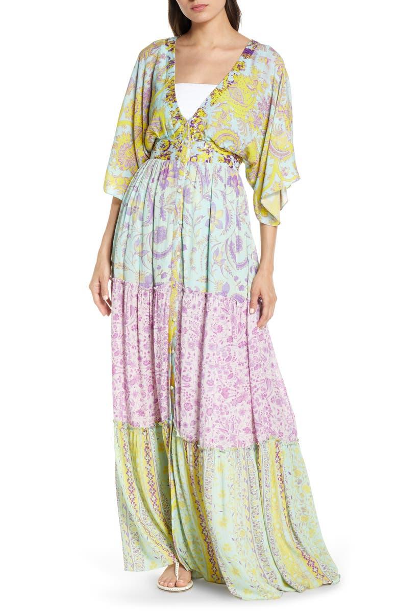 HEMANT & NANDITA Print Cover-Up Maxi Dress, Main, color, 400
