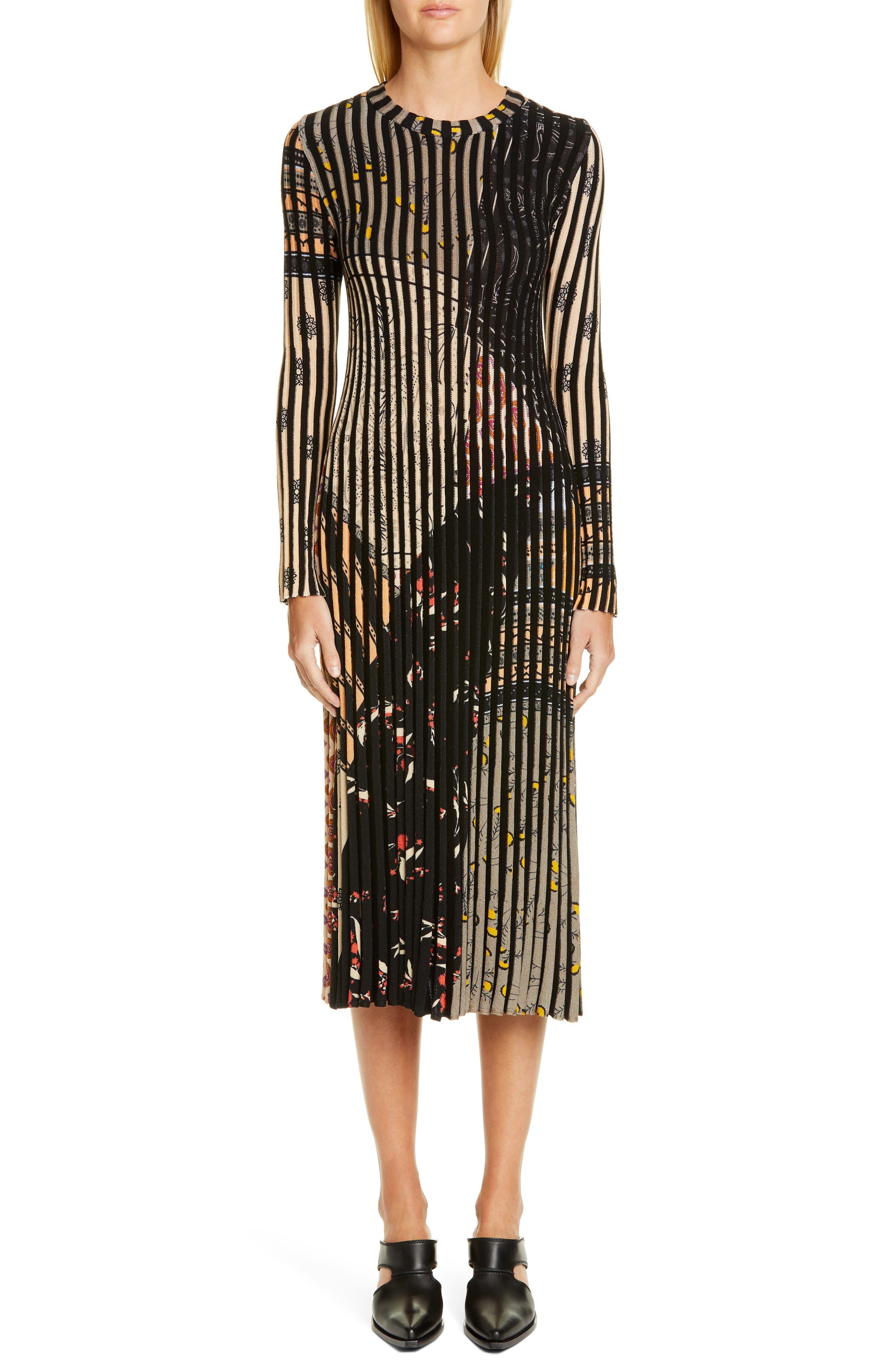 Etro Rib Stripe Long Sleeve Midi Sweater Dress, US / 40 IT - Grey