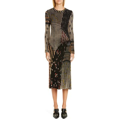 Etro Rib Stripe Long Sleeve Midi Sweater Dress, US / 40 IT - Grey