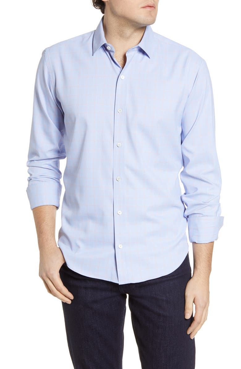 BUGATCHI Shaped Check Button-Up Performance Shirt, Main, color, CLASSIC BLUE