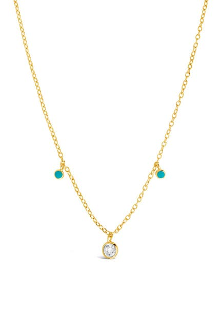 Image of Sterling Forever 14K Gold Vermeil Plated Sterling Silver Green Enamel & CZ Charm Necklace