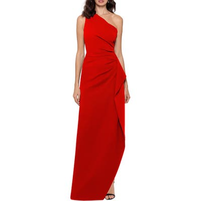 Xscape One-Shoulder Scuba Crepe Gown, Red