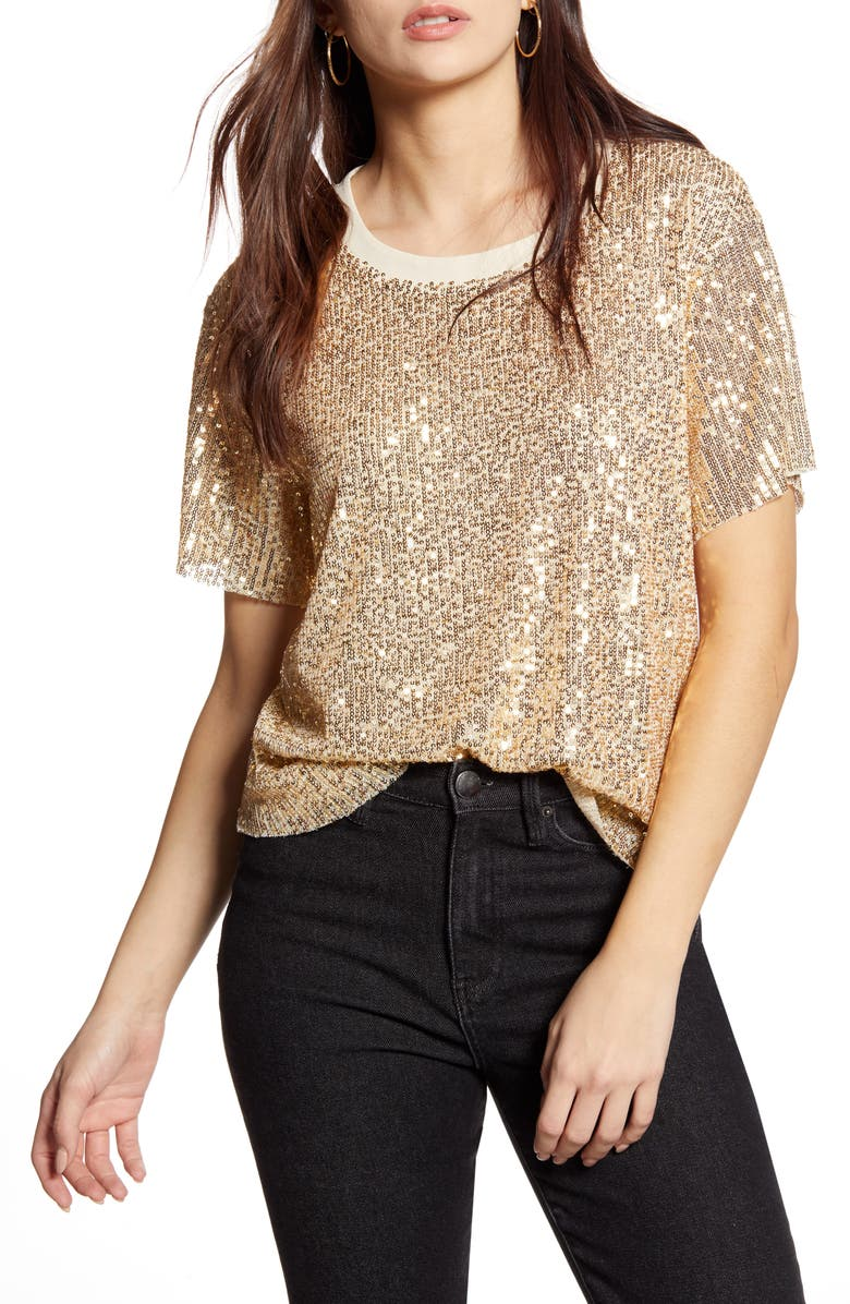 ALL IN FAVOR Sequin Tee, Main, color, GOLD
