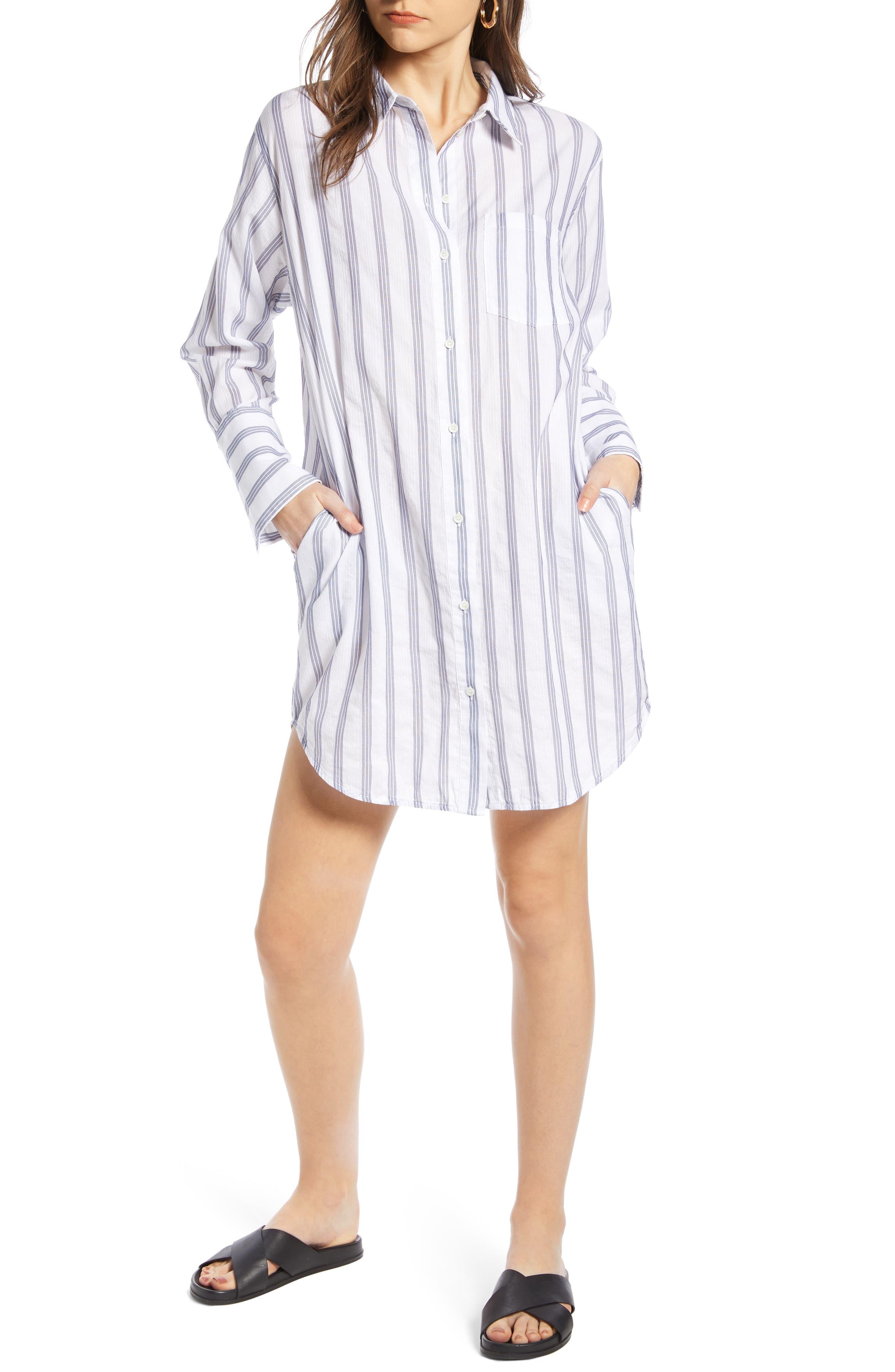 Stripe Shirtdress, Main, color, BLUE- WHITE TAILOR STRIPE