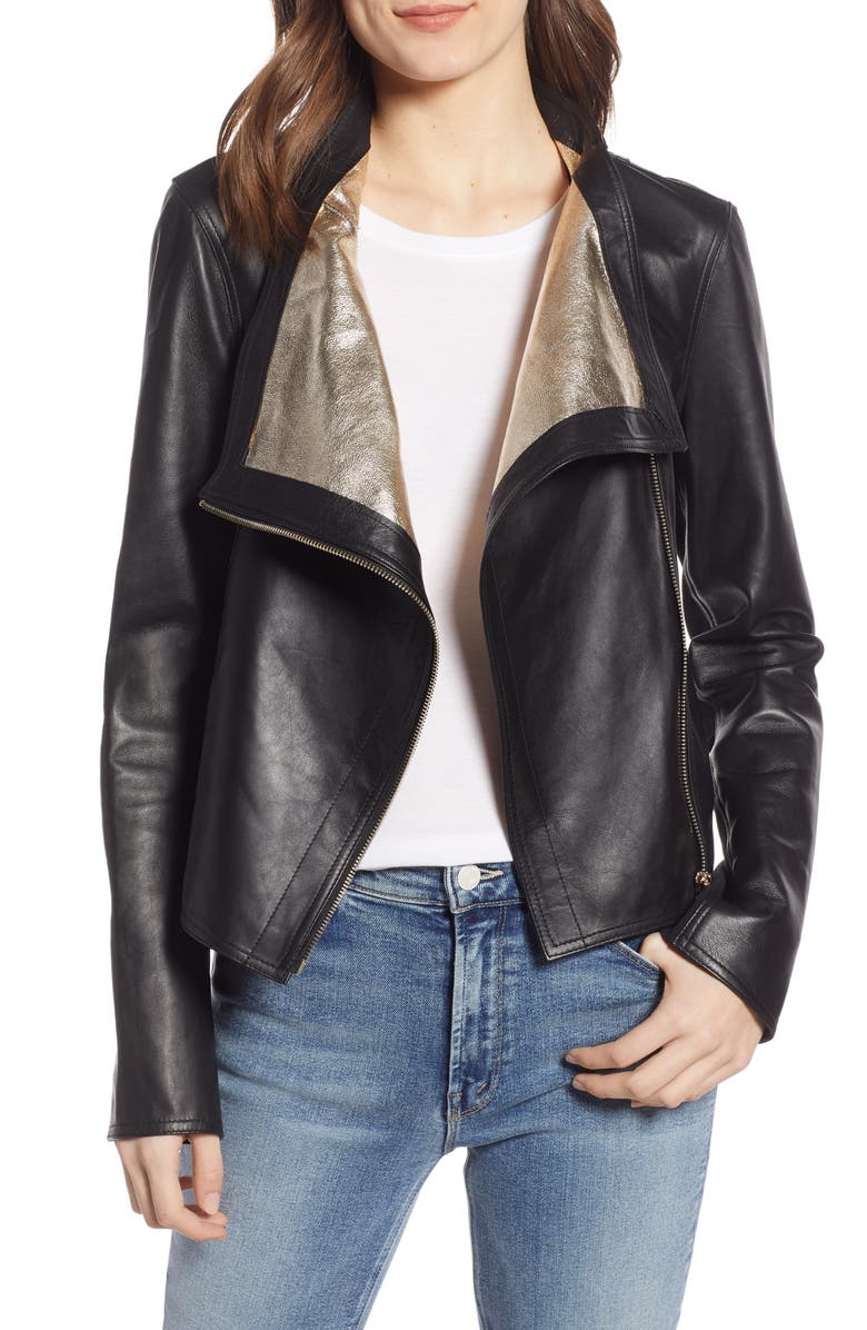 LAMARQUE Metallic Lambskin Leather Jacket, Main, color, BLACK/ GOLD