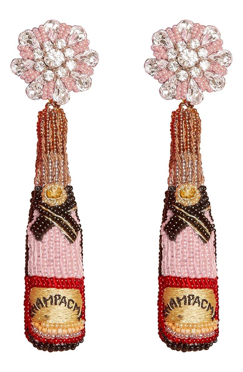 MIGNONNE GAVIGAN Rosé Bottle Drop Earrings, Main, color, 650