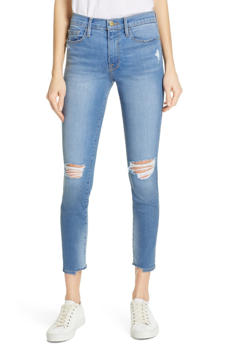 FRAME Le Skinny de Jeanne Ripped Crop Skinny Jeans, Main, color, 421