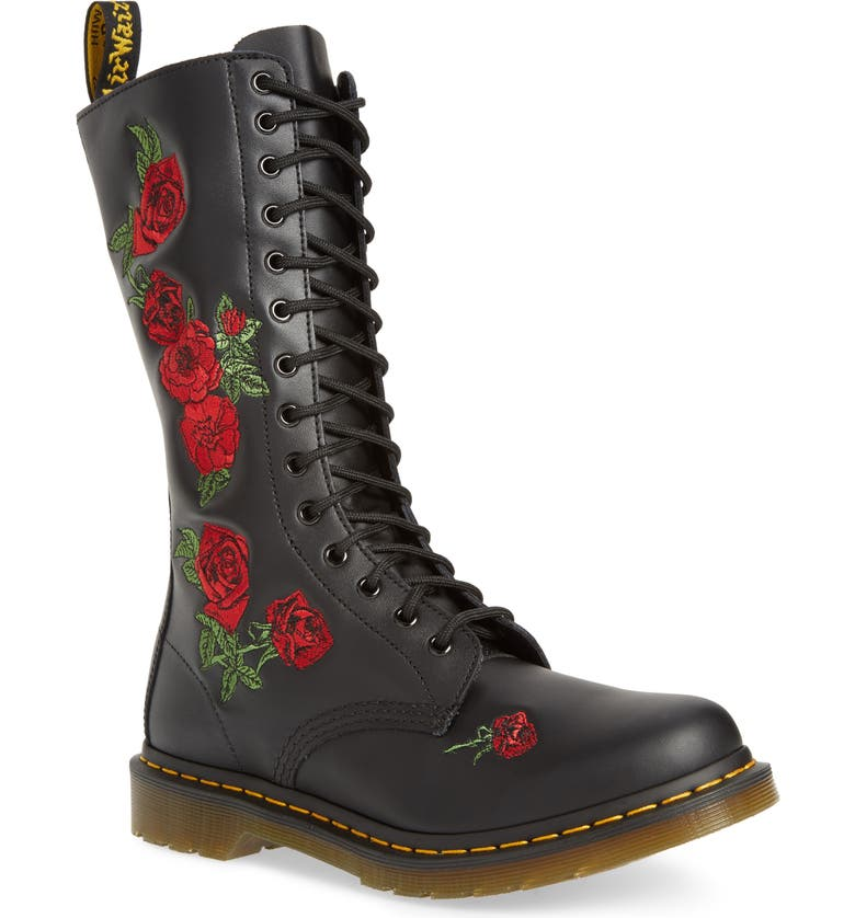 DR. MARTENS Vonda Lace-Up Boot, Main, color, BLACK SOFTY EMBROIDERY