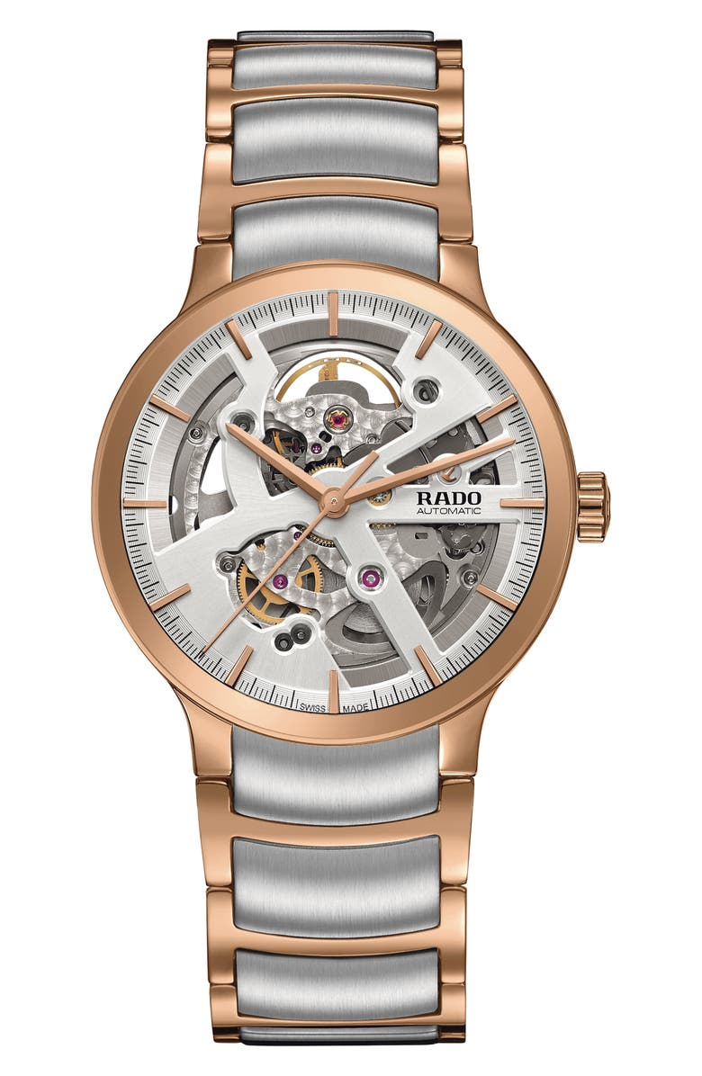 RADO Centrix Automatic Open Heart Bracelet Watch, 38mm, Main, color, ROSE GOLD/ SILVER/ ROSE GOLD