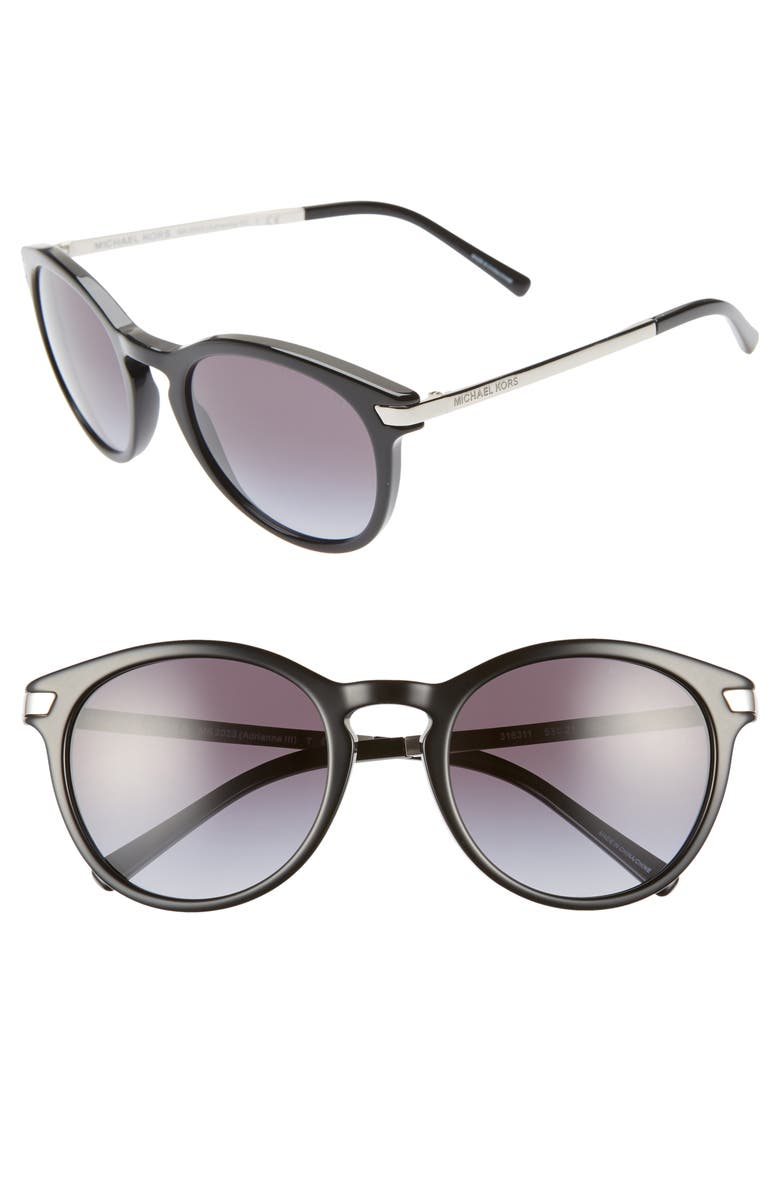 MICHAEL KORS 53mm Gradient Round Sunglasses, Main, color, 001