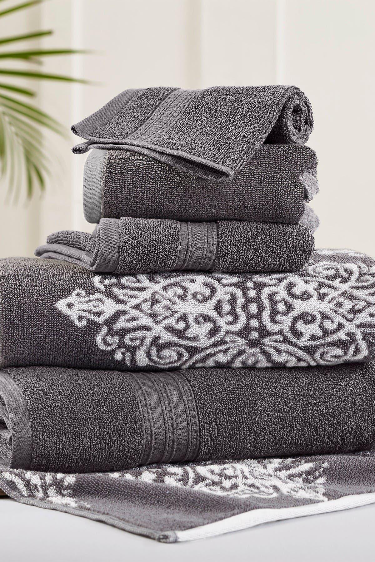 Modern Threads Platinum Artesia Damask Reversible Yarn-Dyed Jacquard 6-Piece Towel Set at Nordstrom Rack