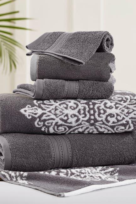 Image of Modern Threads Platinum Artesia Damask Reversible Yarn-Dyed Jacquard 6-Piece Towel Set