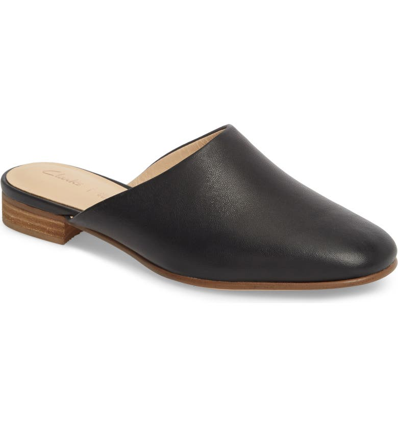 CLARKS<SUP>®</SUP> Pure Blush Mule, Main, color, BLACK LEATHER