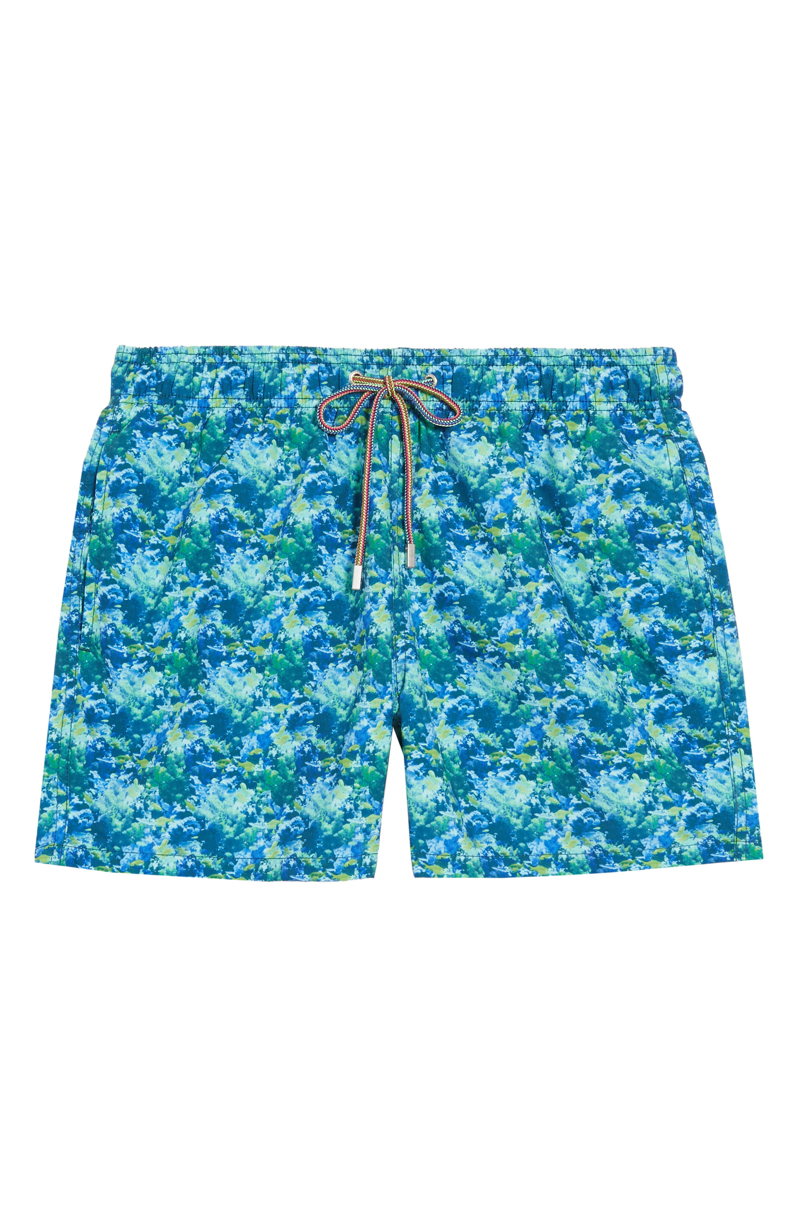Get your own view of the ocean floor with these softly peached, quick-drying swim trunks fitted with a breathable mesh lining for support. Drainage grommets at the back help prevent ballooning when you dive into the water. Style Name: Bugatchi Print Swim Trunks. Style Number: 6039762. Available in stores.
