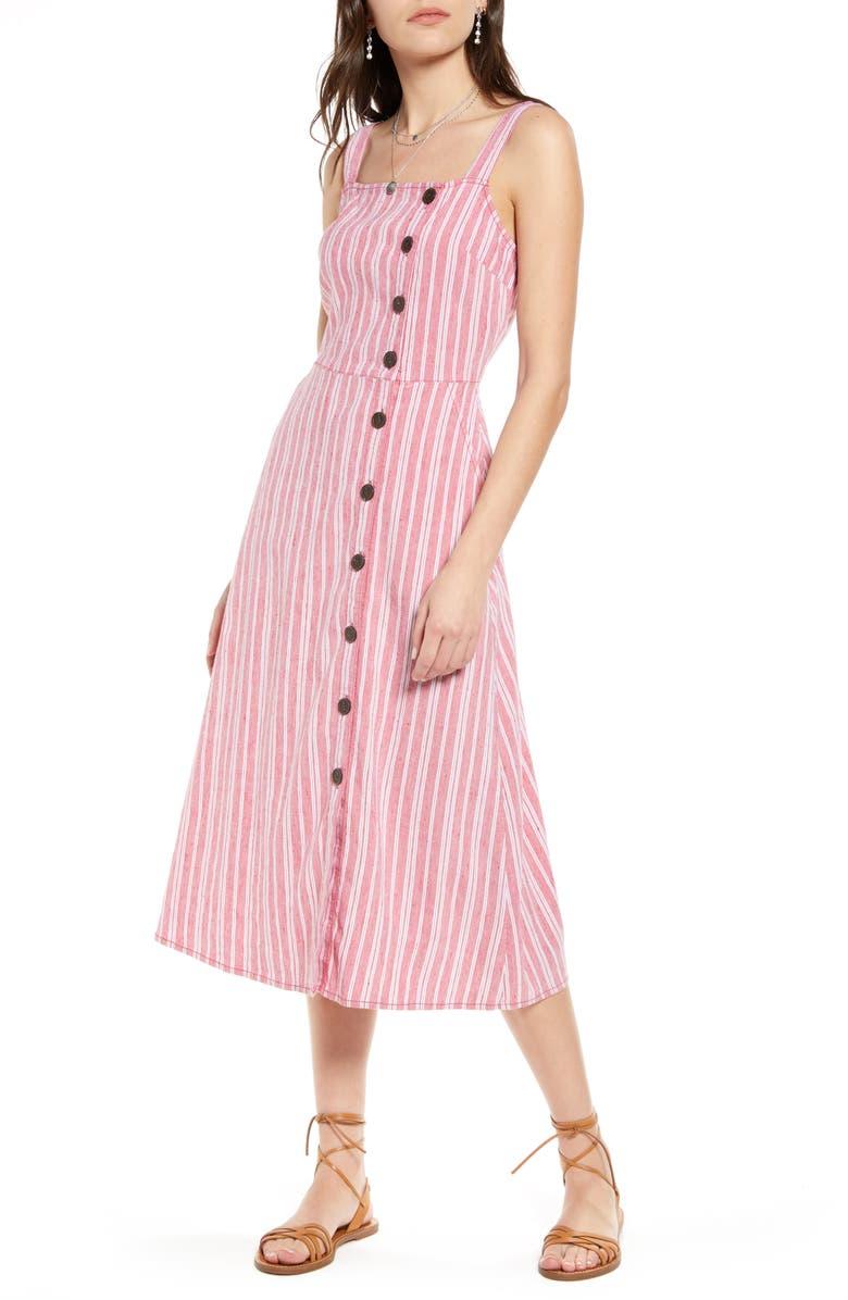 TREASURE & BOND Asymmetrical Button Linen Blend Midi Dress, Main, color, RED LIPSTICK VERTICAL STRIPE