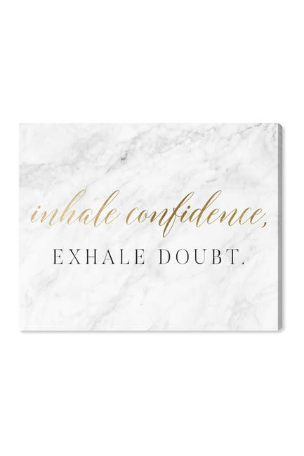Image of Wynwood Studio Inhale Confidence Marble Gold Wall Art