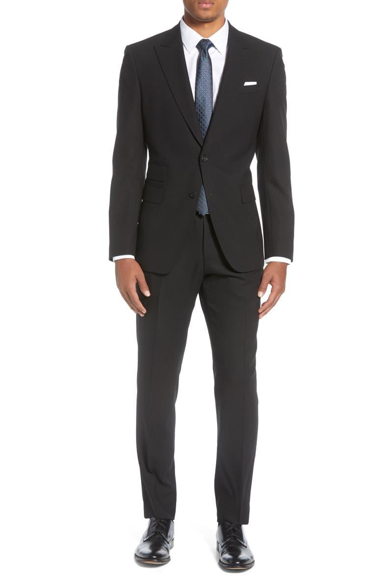 BOSS Helward/Gelvin Trim Fit Plaid Wool Suit, Main, color, BLACK