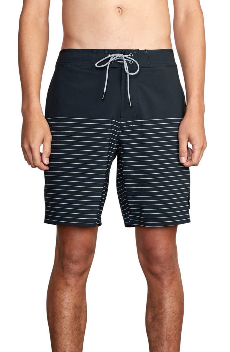 RVCA Current Stripe Water Repellent Board Shorts, Main, color, BLACK
