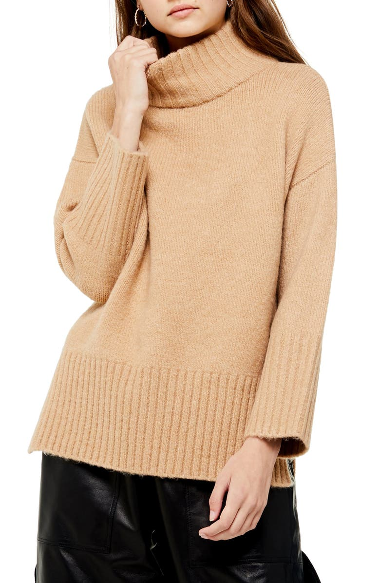 TOPSHOP Funnel Neck Sweater, Main, color, CAMEL