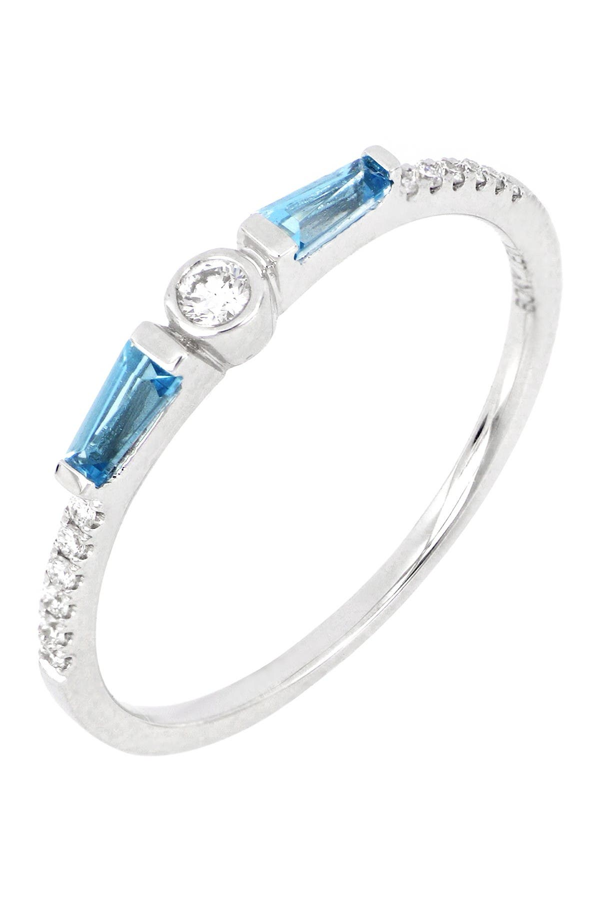 Image of Bony Levy 18K White Gold Petite Blue Topaz & Diamond Ring