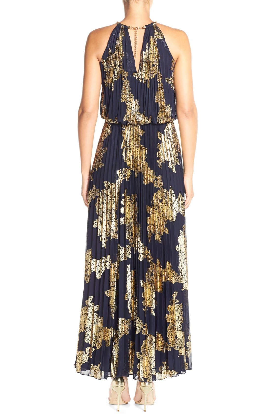 ,                             Foiled Pleated Jersey Blouson Dress,                             Alternate thumbnail 16, color,                             409