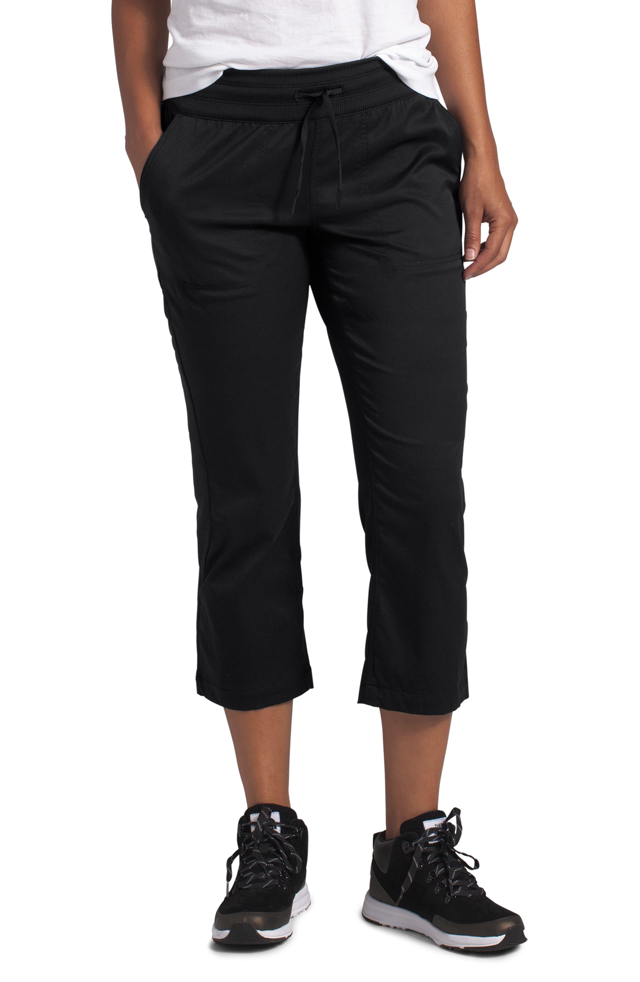 Plus  Women's The North Face Aphrodite Motion Water Repellent Capri Pants,  1X - Black