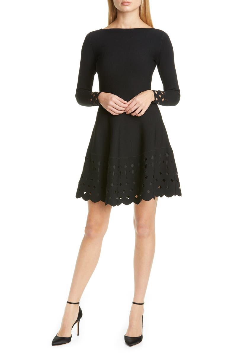 LELA ROSE Lattice Trim Long Sleeve Fit & Flare Sweater Dress, Main, color, BLACK