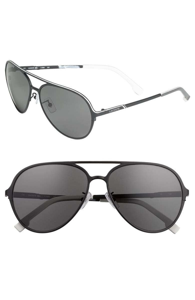 LACOSTE 'Navigator' Metal Aviators, Main, color, 001