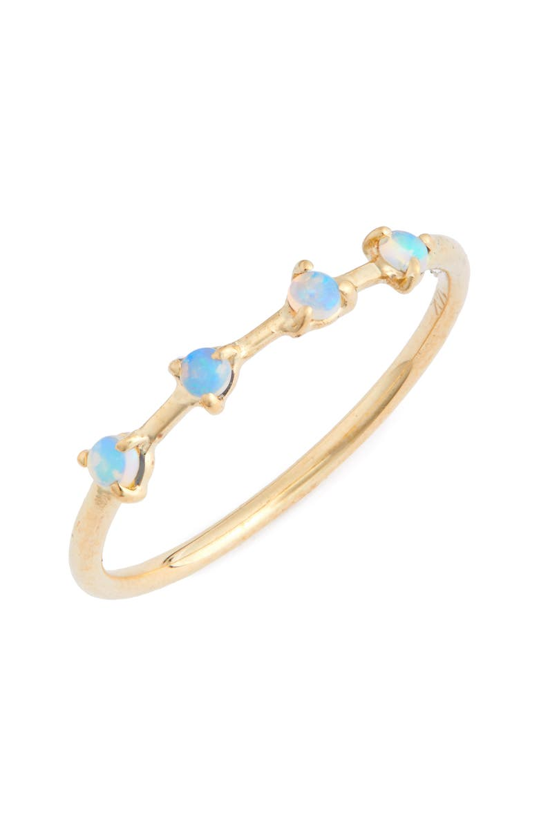 WWAKE Counting Collection Four-Step Opal Ring, Main, color, YELLOW GOLD