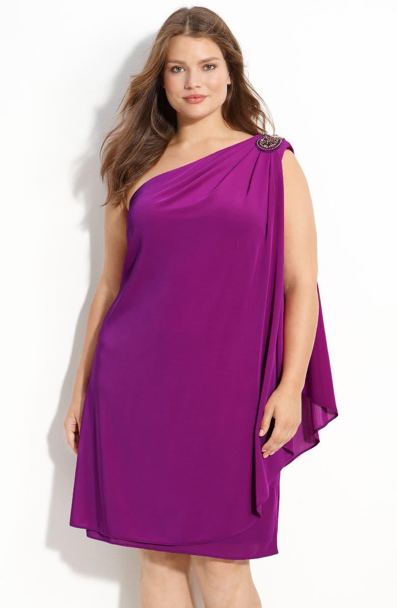JS BOUTIQUE Beaded One Shoulder Chiffon Dress, Main, color, 670