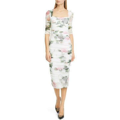Dolce & gabbana Rose Print Ruched Tulle Midi Dress, US / 42 IT - White