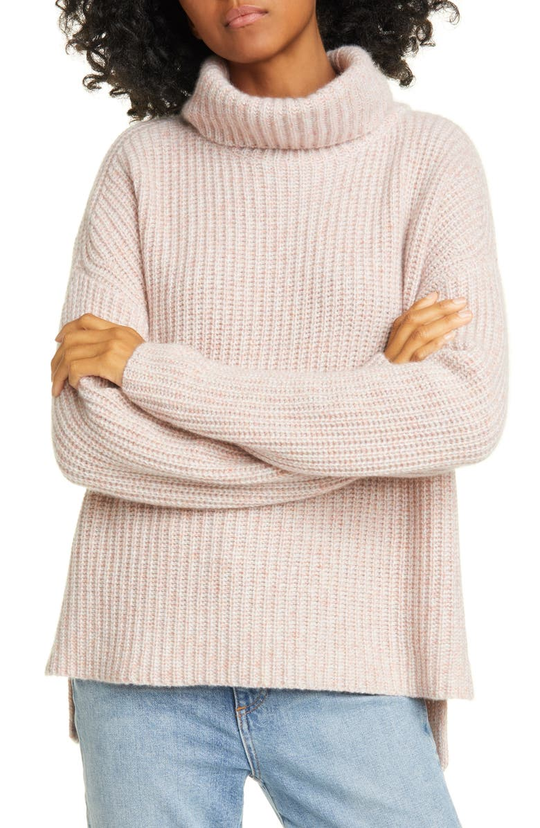 NORDSTROM SIGNATURE Shaker Stitch Roll Neck Cashmere Sweater, Main, color, PINK DAWN MARL