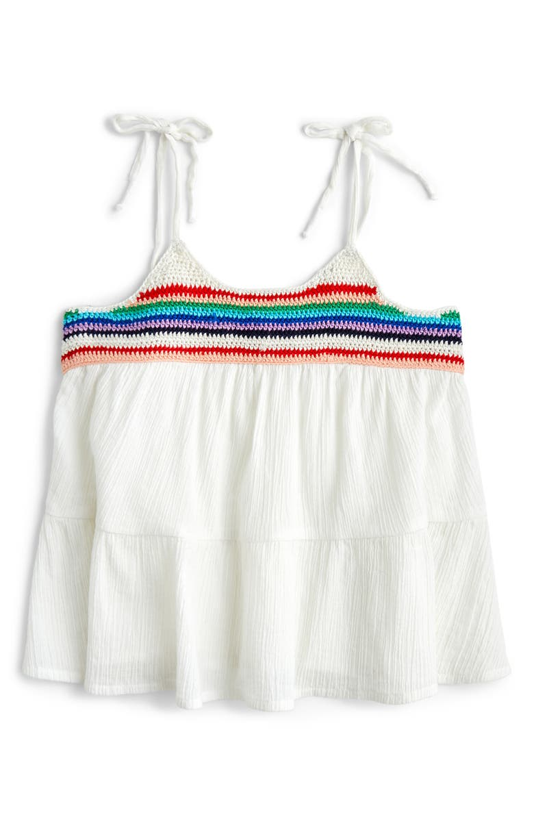 CREWCUTS BY J.CREW Crochet Trim Tank, Main, color, WHITE